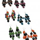 Metal Leaf Chandelier Earrings Blue/Black