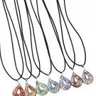 Glass Pendant Necklaces Dark Blue