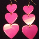 Plastic Heart Drop Heart Earrings Pink