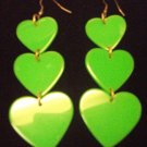 Plastic Heart Drop Heart Earrings Green