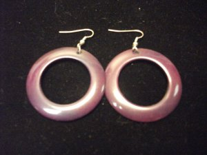 Plastic Round Cutout Earrings Dark Purple