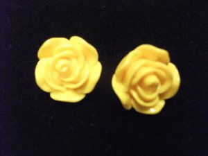 Small Plastic Rose Earrings Yellow