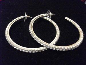 Rhinestone Hoop Earrings Medium
