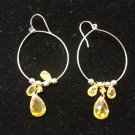 Yellow & Gold Bead Dangle with Silver Hoop Earring