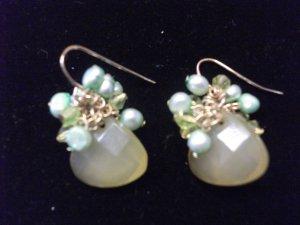 Medium Gem with Freshwater Pearl Earrings Green