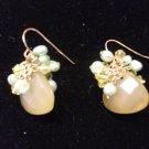 Medium Gem with Freshwater Pearl Earrings Coral