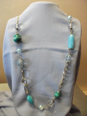 Turquiose Colored Crystal & Wood Beads Gold Tone Chain Necklace