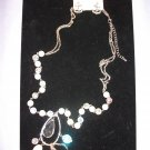 Nautical Inspired Necklace Chain Gems and Pearls White with Matching Anchor Earrings