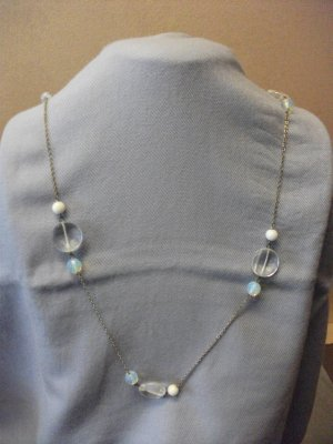 Clear Lucite Beads Silver Tone Chain Necklace