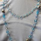 Blue Colored Beads Long Chain Necklace
