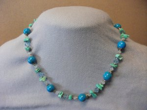 Turquoise Stone & Crystal Bead Necklace Style 2