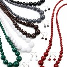 Graduating Bead Necklace with Earrings Brown