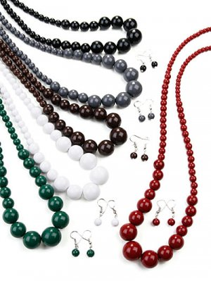 Graduating Bead Necklace with Earrings Black