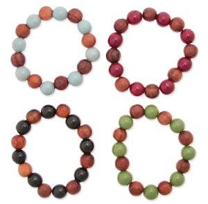 Wood Stretch Bead Bracelet Green/Brown