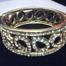 Rhinestone Teardrop Gold Tone Hinge Bangle
