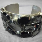 Metal with Black Stones Bangle Silver