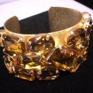 Metal with Gold Stones Bangle Gold