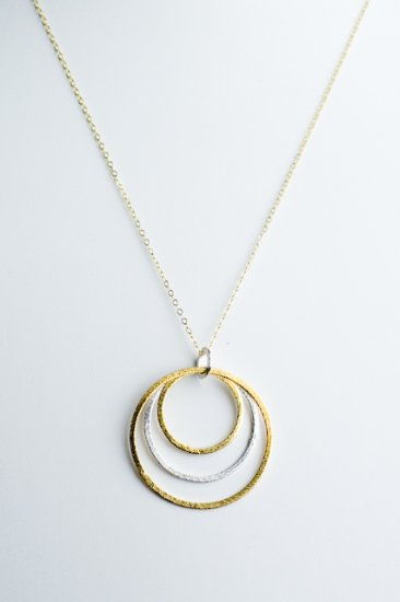 Ofina Triple Circle 14kt Gold Necklace