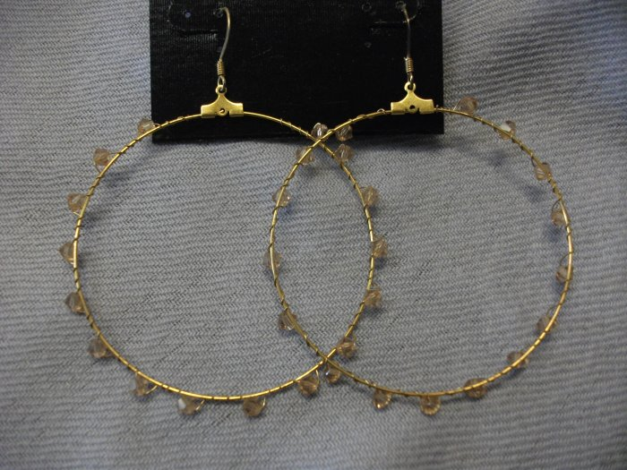 Gold Wire Hoops with Swarovski Crystal Detail