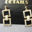 Gold Drop Earrings with Rhinestone Detail