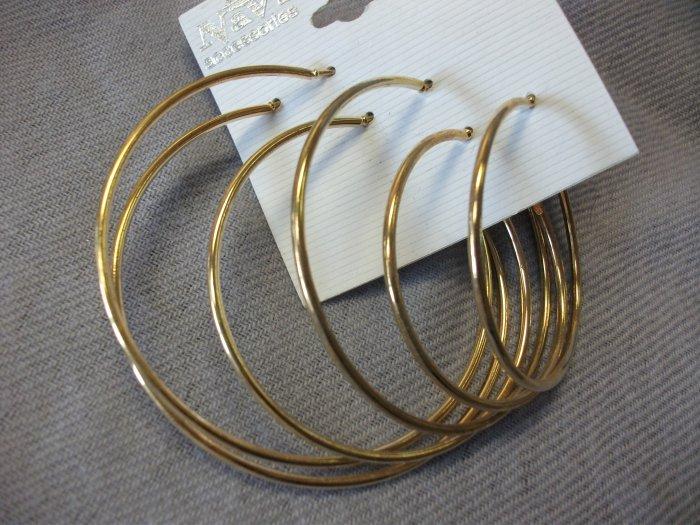 Set of 3 Gold Plain Hoops