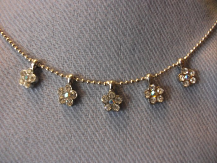 Small Flower Rhinestone Necklace