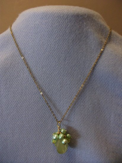 Green Bead with Freshwater Pearl Necklace