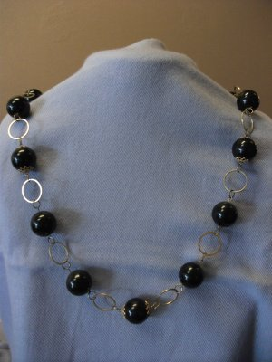 Large Black Beads and Gold Loop Chain Necklace with Matching Earrings
