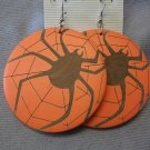Orange Painted Wood Earrings with Spider and Web Detail