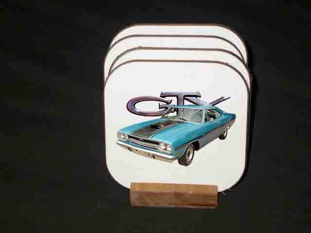 Beautiful 1970 Plymouth GTX Hard Coaster set!