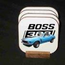 Beautiful 1970 Blue Ford Boss Mustang Hard Coaster set!