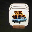 New 1969 Turquoise Pontiac GTO Judge Hard Coaster set!