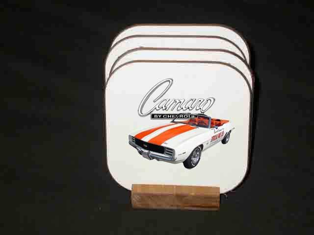 New 1969 Chevy Camaro Pace Car Hard Coaster set!!