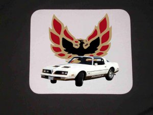 New 1978 White Pontiac Formula Firebird Mousepad!