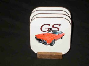 New 1971 Orange Buick Gran Sport Hard Coaster set!!