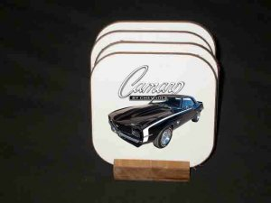 New Black 1969 Chevy Camaro RS/SS Hard Coaster set!!
