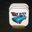 New Blue 1966 Chevy Chevelle w/flags Hard Coaster set!!