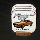 Beautiful 1970 Orange Ford Mustang Hard Coaster set!
