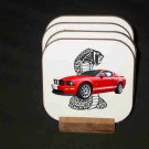 Beautiful Red 2007 Ford Mustang Cobra Hard Coaster set!