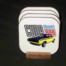 Beautiful 1970 Yellow  Plymouth AAR Cuda Hard Coaster set!