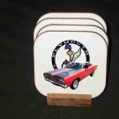 Beautiful Red 1969 Plymouth Roadrunner Hard Coaster set!