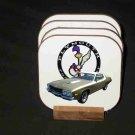 Beautiful 1974 Plymouth Roadrunner Hard Coaster set!