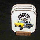 Beautiful Yellow 1969 Dodge Superbee Hard Coaster set!