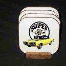 Beautiful Yellow 1970 Dodge Superbee Hard Coaster set!