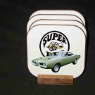 Beautiful Green 1970 Dodge Superbee Hard Coaster set!