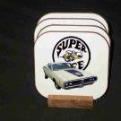 Beautiful White 1971 Dodge Superbee Hard Coaster set!