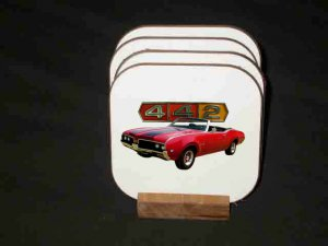 New Red 1969 Oldsmobile Cutlass 442 Convertible Hard Coaster set!