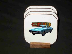 New Turquoise 1968 Olds 442 Hard Coaster set!