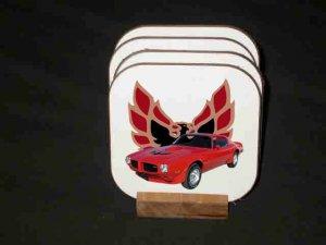New 1973 Red Pontiac Trans AM Hard Coaster set!