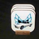 New 1973 White Pontiac Trans AM Hard Coaster set!